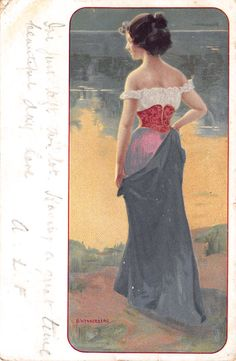 1905 BRYNOLF WENNERBERG POSTCARD: RISQUE ART NOUVEAU LADY UNDRESSING to CORSET