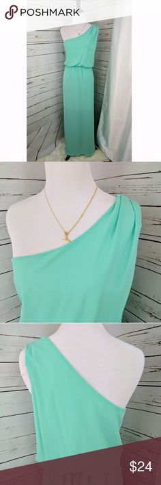 RED DRESS BOUTIQUE | one shoulder Maxi Beautiful aqua color, one shoulder with tucked pleats. Elastic waist, lined to knees. red dress Boutique Dresses One Shoulder