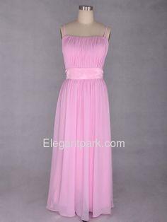 Pink Empire Spaghetti Straps Floor-length Chiffon Long Bridesmaid Dress (KB4484)