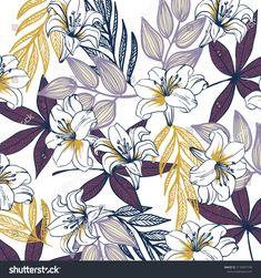 tropical flower pattern Tropical Flowers, Flower Patterns, Prints, Image, Doodle Flowers, Floral Patterns