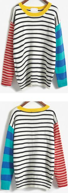 Absolutely love the oversized casual sweater! This Colour-block Striped Sweater come to 60% off for 1st order at romwe.com!