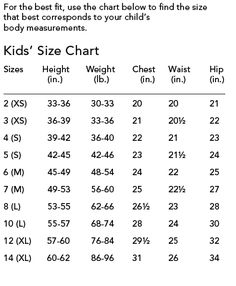 Childrens Size Chart Crochet Baby For Kids