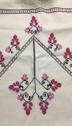 This Pin was discovered by Bur Just Cross Stitch, Cross Stitch Borders, Modern Cross Stitch, Cross Stitch Flowers, Cross Stitch Designs, Cross Stitching, Cross Stitch Patterns, Diy Embroidery Patterns, Towel Embroidery