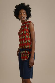 Joyce Plunge Back Shell Top in Red and Gold Fish Print