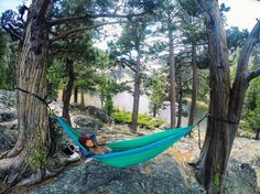 Time to relax after 9 miles of hiking. Loving my ENO PCT hammock! @enohammocks #tahoelove #hammocklife #hiking by @polenebee