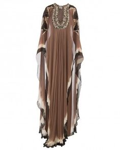 Brown Black Kaftan with Cheetah Embroidered Bodice