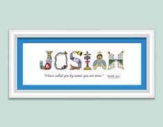 Kids name art for boys and girls personalized christian gifts personalized christian baby gift sign using letters from the christian alphabet for a unique baby negle Choice Image
