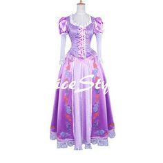 Disney Tangled Rapunzel Cosplay Costume Dress Party Dress