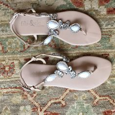 Fibi & Clo Sandals EUC Beautiful jeweled, leather sandals. Only worn a couple times. Fibi & Clo Shoes Sandals