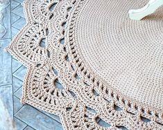 Crochet Borders Round area rug 625 in crochet rug crochet decor doily Crochet Doily Rug, Crochet Rug Patterns, Crochet Carpet, Crochet Mandala Pattern, Crochet Borders, Crochet Round, Crochet Home, Knit Crochet, Crochet Tablecloth