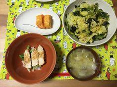 とりチャーシュー丼 温野菜 玉子焼き お味噌汁