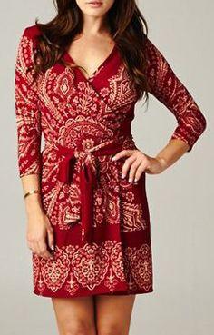 Margaret Surplice Dress in Ruby