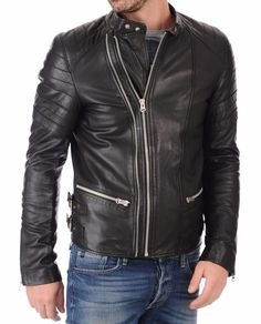 Men's Leather Jacket Handmade Black Motorcycle Solid Lambskin Leather Coat -M24 #Handmade #BasicCoat