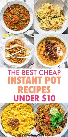 Each of these Cheap Instant Pot Recipes costs under $10 to make! The Instant Pot makes it SO easy to feed your family great-tasting meals on a budget. Main dishes, soups, breakfasts, meal prep… Supper Recipes, Lunch Recipes, Vegetarian Recipes, Drink Recipes, Instant Pot Chicken Thighs Recipe, Best Instant Pot Recipe, Slow Cooker Recipes, Crockpot Recipes, Chicken Recipes