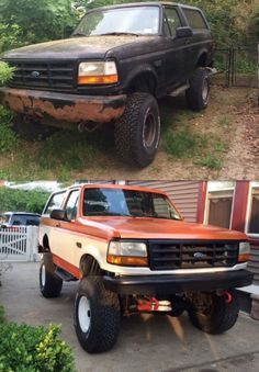 Flipped 1996 lifted Ford Bronco v8 Orange Ford 4x4, Lifted Ford, Jeep Truck, Ford Trucks, Old Bronco, Broncos, Jeeps, Offroad, Monster Trucks