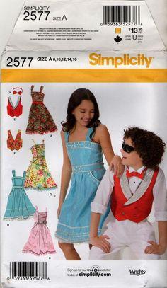 2577 Simplicity Pattern  Girls Dress & Boys Vest Tie, Size 8 10 12 14 16