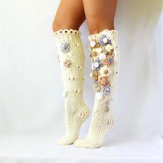 Items similar to Shabby Chic floral rustic socks. Christmas present, Christmas socks Women socks Flowers Knit socks. Handmade Knee high Socks on Etsy Crochet Boots, Crochet Slippers, Knitting Socks, Hand Knitting, Knit Socks, Womens Wool Socks, Women Socks, Shabby Chic, Knee High Socks