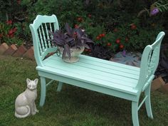 Bench made from two old chairs (would be cute to do with two outgrown children's table chairs)  Luv color, too