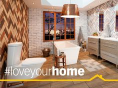 Style Inspiration: 6 Bathrooms you'll love Builders Warehouse, All White Bathroom, White Subway Tiles, Copper Lighting, Wood Look Tile, White Vanity, Love Your Home, Splashback, Round Mirrors