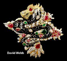 DAVID WEBB Black Enamel Diamond Ruby Dragon Brooch