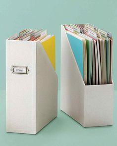 Convert a magazine file into a stylish, compact filing system for forms and important documents that have accumulated over the year. Use our vertical file folders to organize school correspondence, medical records, and more. School Work Organization, File Folder Organization, Organization Hacks, Classroom Organization, Filing Cabinet Organization, Project Life Organization, Magazine Organization, Filing Cabinets, Storage Cabinets