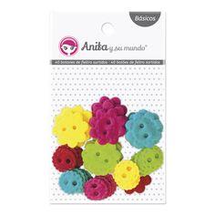 #Botones de #fieltro. 40 botones de fieltro, surtidos en colores vivos. 20 uds. de 2,5 cm y 20 uds. de 1,6 cm. Puedes incluirlas en tus proyectos de #scrapbooking para darles volumen y textura.