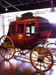 Stagecoach - Wells Fargo Bank Museum - S. (Photo by Steve Martin June Charlotte North Carolina, Charlotte Nc, Stage Coach, Horse Drawn Wagon, Chuck Wagon, Steve Martin, Covered Wagon, Old West, Saddles