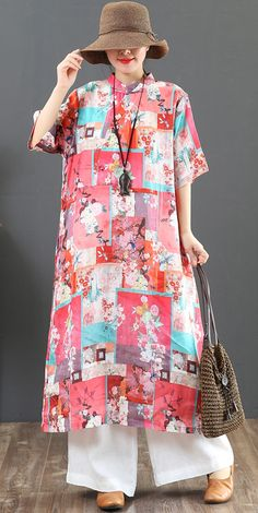 d7ba817c111 Natural stand collar pockets linen dresses Boho Wardrobes pink print loose  Dress Summer standcollardress