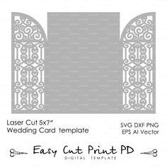 Wedding invitation Card 5x7 Template iron door by EasyCutPrintPD