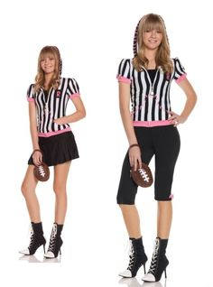 OFF or FREE SHIP -Sideline Sweetheart Md-Lg : This official can take you out of the game! Traditional black and white striped hoodie, capri pants, skirt, whistle and football purse. Teen Girl Costumes, Costumes For Teens, Halloween Costumes For Girls, Adult Costumes, Sports Costumes, Halloween Ideas, Referee Costume, Usa Costume, Costume Shop