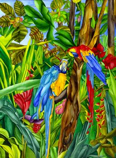 Rainforest Rituals - Macaws among Hibiscus, Ginger, Heliconias, and Banana Plants by Ruth Daniels