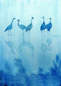 cranes in the blue moonlight...