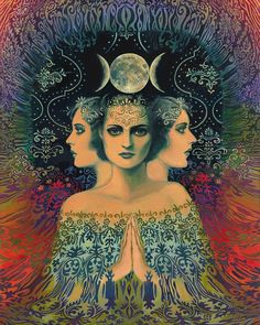 Moon Goddess of Mystery Psychedelic Tarot 16x20 by EmilyBalivet