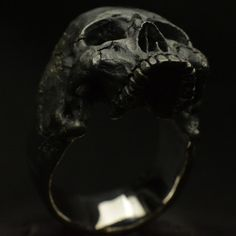 Into The Fire Jewelry - The Gold Standard in Skull Rings    Mid - Size Half Jaw Skull Ring  (This slightly larger then my standard size skull rings)  Shown in Rustic Finish  Free Shipping in the USA  ------also available in Vintage or Polished finishes------  - I will make this ring in any size you need -  -----please allow me up to 10 to 15 business days to make in the size you need-----   This ring is 35 grams of solid .925 Sterling Silver  *Shown in a Rustic Finish with mirror polished…