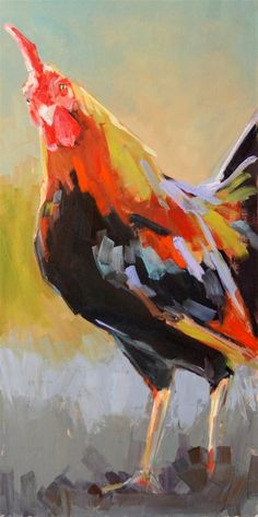 """subdued rooster"" original fine art by Carol Carmichael"