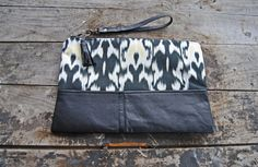 Black Ikat Upcycled Leather Clutch // by aperfectmessvintage