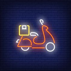 Side view of scooter on brick background. Neon Design, Logo Design, Vector Design, Design Design, Hight Light, Neon Wallpaper, Neon Aesthetic, Story Instagram, Instagram Highlight Icons