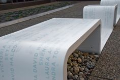 Corian out door benches. With 4000 inserted letters made to glow in the dark