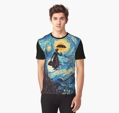 The Flying Lady with an Umbrella Oil Painting Graphic T-Shirts #GraphicTShirts #tee #tshirt #clothing  #marrypoppins #Umbrella #painting #starrynight #art #flyinglady #woman #flying