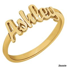 Add your girlfriend name and surprise her with this beautiful ring Custom 14K Gold Vermeil Script Name Ring