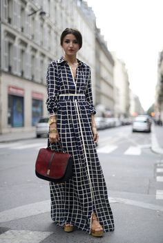 We are loving this checkered maxi dress.