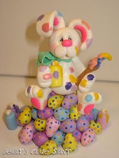 Easter Bunny With Eggs - Polymer Clay Figurine Collectible