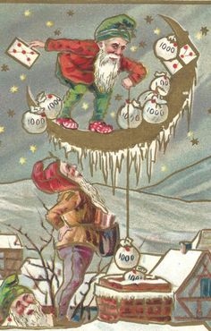 Antique New Year Postcard Elves Moon Money by catladycollectibles on Etsy