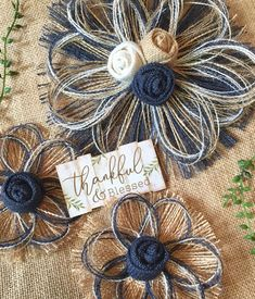 Extra Large Navy Burlap Flower Set of 3 XL Navy burlap Loom Flowers, Twine Flowers, Tissue Paper Flowers, Faux Flowers, Fabric Flowers, Burlap Projects, Burlap Crafts, Navy Wedding Flowers, Cross Wreath