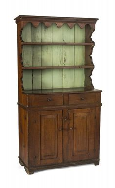 One piece step back cupboard . the molded crest with scalloped apron above two open shelves, the box base with two drawers over a pair of raised paneled doors. 76.5 high, x 39.5 wide, x 19.5 deep