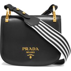 Prada Pionnière canvas-trimmed leather shoulder bag (2,525 CAD) ❤ liked on Polyvore featuring bags, handbags, shoulder bags, prada, crossbody purse, genuine leather shoulder bag, prada shoulder bag, crossbody handbag and leather handbags