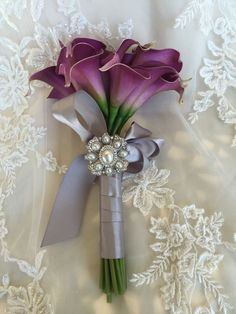 Calla lily Wedding bouquet Plum purple Bridesmaid bouquet