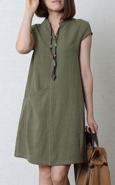 Tea green cotton sundress oversize summer linen dress This dress is made of cotton linen fabric, soft and breathy, suitable for summer, so loose dresses to make you comfortable all the time. Measurement: Size M Simple Dresses, Casual Dresses, Casual Outfits, Fashion Dresses, Loose Dresses, Easy Dress, Sun Dresses, Cheap Dress, Dresses 2013