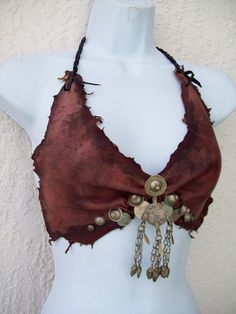 "reminded me so much of my first ever bikini in SecondLife :-) - an ""Gypsy Amazon leather halter bra"""