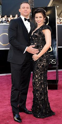 Channing Tatum and his very cute and preggers wife Jenna Dewan. I love the lacy overlay look of her dress :)
